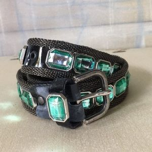 HOST PICK🥳VTG Chainmail Belt w/ Green Glass